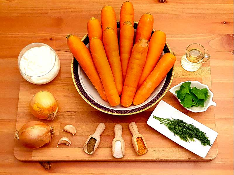 Ingredients for Cooked Carrots with Curcuma